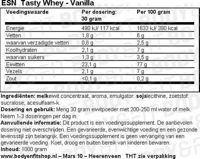 Voedingswaarde label Tasty Whey