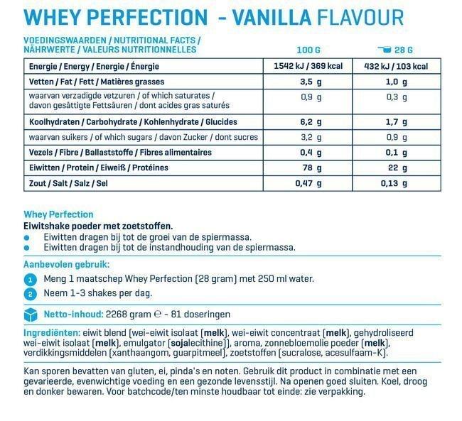 Whey Perfection vanille voedingswaarde label