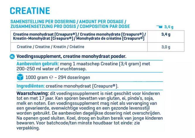 Voedingswaarde label Creatine Creapure van Body&Fit