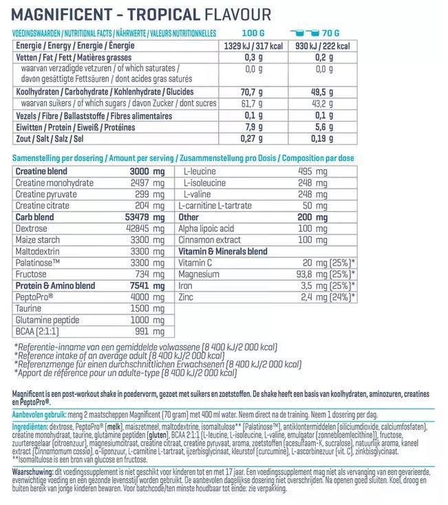 Voedingswaarde label Magnificant creatine van Body&Fit