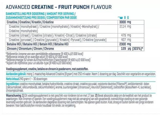 Voedingswaarde label Advanced Creatine Body en Fit