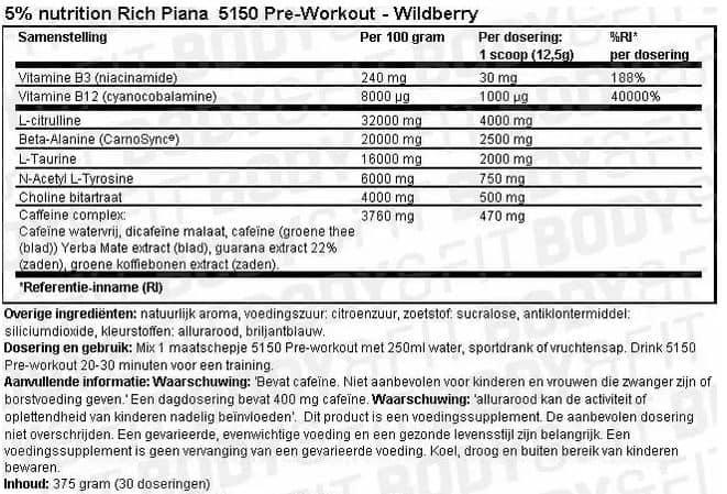 Voedingswaarde van 5051 Pre workout van 5% Nutrition Rich Piana
