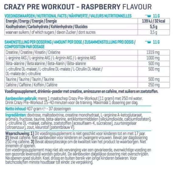 Voedingswaarde Crazy Pre Workout van Body en Fit