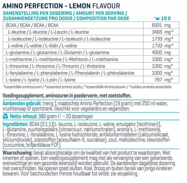 Voedingswaarde label Amino Perfection Body en Fit