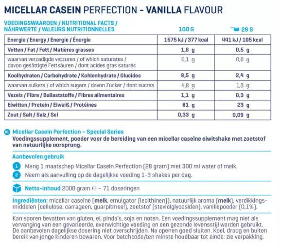 Voedingswaarde van Micellar Casein Perfection Special Series Body en Fit