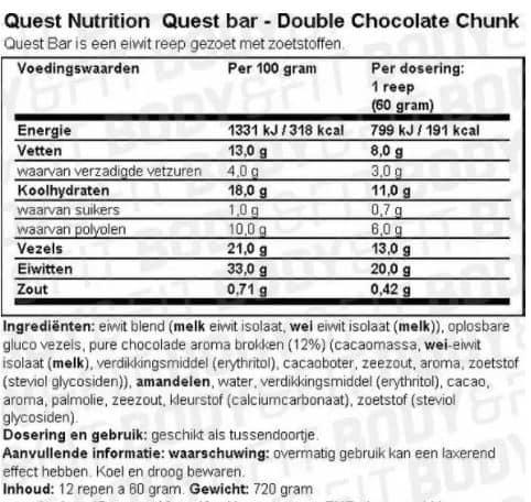 Voedingswaarde van Quest Bar