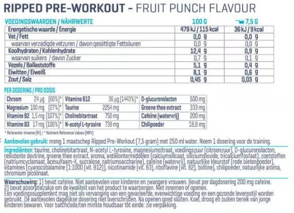 Voedingswaarde Ripped Pre Workout van Body en Fit