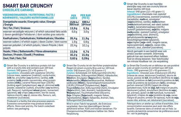 Voedingswaarde Smart Bars Crunchy van Body en Fit