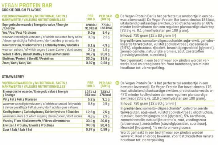 Voedingswaarde Vegan Protein Bar van Body en FIt