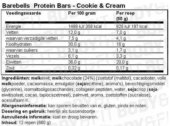 Voedingswaarde Barbells Protein Bars