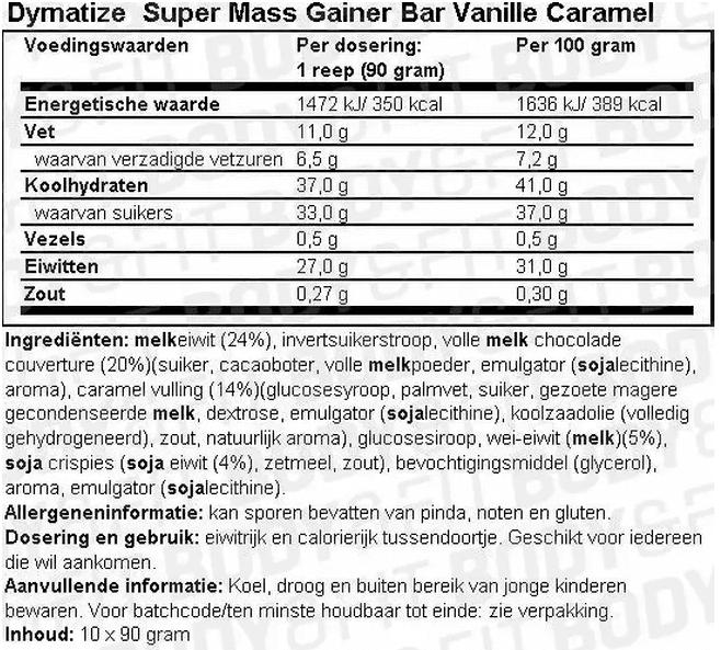 Voedingswaarde Super Mass Gainer Bar van Dymatize