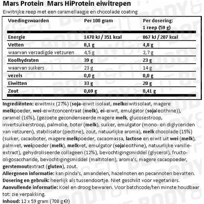 voedingswaarde Mars Hi Protein Bars