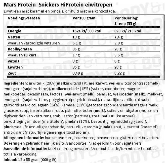 Voedingswaarde Snickers Hi Protein